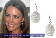 The Hope Egg Earrings by Links of London are intricately encrusted with white topaz and white rhodolite for a sparkling finish. These earrings were worn by Kate for her engagement photo. Kate Middleton Wedding, Kate Middleton Style, Links Of London, Egg Styles, English Royal Family, Celebrity Engagement Rings, Royal Jewelry, Jewellery, Pearl Drop Earrings