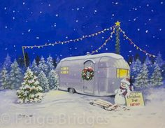 vintage trailers artwork | Vintage Travel Trailer Art - Christmas Trailer Art | Glamping Queen