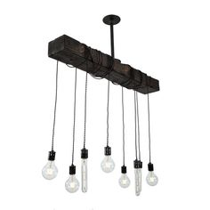 Fayette Wood Beam Chandelier - Solid Beam Downlight with 8 Lights - Farmhouse Chandelier- for Kitchen, Dining Room & Entryway - Adjustable Bulb Height - Easy Installation Kitchen Island Chandelier, Farmhouse Chandelier, Rustic Chandelier, Farmhouse Lighting, Pendant Chandelier, Rustic Lighting, Vintage Lighting, Chandelier Lighting, Modern Lighting