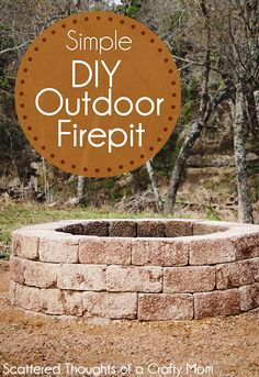 DIY Fireplace Ideas - Simple DIY Outdoor Firepit - Do It Yourself Firepit Projects and Fireplaces for Your Yard, Patio, Porch and Home. Outdoor Fire Pit Tutorials for Backyard with Easy Step by Step Tutorials - Cool DIY Projects for Men Make A Fire Pit, How To Make Fire, Diy Fire Pit, Fire Pit Backyard, Fire Pits, Diy Pergola, Gazebo, Pergola Ideas, Diy Outdoor Fireplace