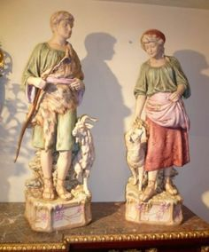 VERY LARGE PAIR OF ROYAL DUX FIGURINES on AntiqueForSale from David Wolfenden Antiques