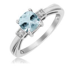 $24.99 - 1 Carat Aquamarine Cushion Cut Diamond Accent Sterling Silver Ring