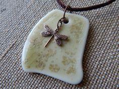 Large Ceramic Pendant, Dragonfly Pendant, Handmade Jewelry, Porcelain Pendant, Ceramic Necklace, Gift Idea, Freeform Pendant, Earth Tone on Etsy, $16.00