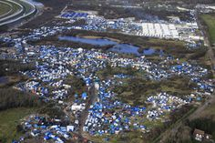 Refugee camp on the outskirts of Calais, France.