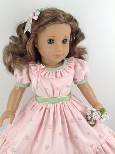American Girl 18-inch Doll Clothes - Ruffled 1850's Historical Dress & Petticoat…