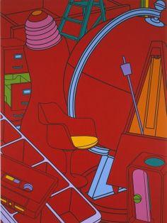 "Michael Craig-Martin ""Inhale (red)"", 2002. Acrylic on Canvas"
