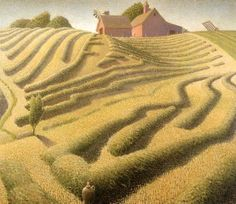 """""""Grant DeVolson Wood was an American painter best known for his paintings depicting the rural American Midwest, particularly American Gothic, an iconic painting of the century. (Wikipedia) (""""Haying"""" by Grant Wood)) National Gallery Of Art, Art Gallery, Grant Wood Paintings, Iowa, Artist Grants, Bg Design, American Gothic, Harlem Renaissance, Naive Art"""