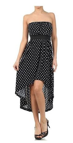 Strapless Black Polka Dot Hi-Lo Hem Fashion Dress U.S.A