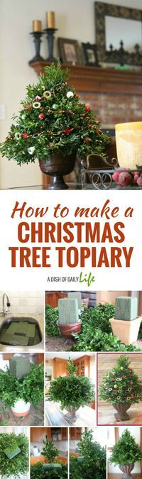 Learn how to make a Christmas tree topiary for the holidays! Perfect as holiday decor for your home or gift giving! #holidaygift #DIY #Christmas #giftideas #homemade