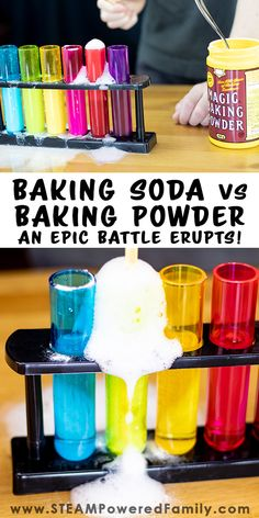 Baking Soda vs Baking Powder go head to head in this epic battle between two kitchen staples in this kid approved science experiment. They may look similar. Their names may sound similar. But these two simple looking white powders can cause BIG reactions. The best part of this scientific investigation... the eruptions!