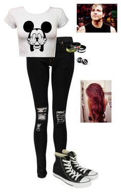 """""""Dean Ambrose Survival Kit"""" by lizgotswaqq2352 ❤ liked on Polyvore featuring Boohoo and Converse"""