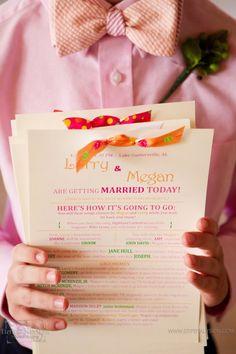 colorful print wedding programs with yummy bows Wedding Wows, Maroon Wedding, Our Wedding, Dream Wedding, Wedding Photos, Wedding Stationary, Wedding Programs, Wedding Invitations, Best Day Ever