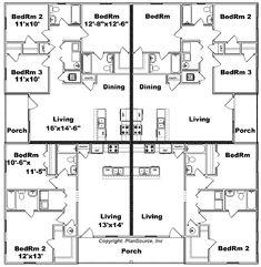 3 bedroom triplex plans triplex house plans 1 387 s f ea for 4 unit apartment building plans