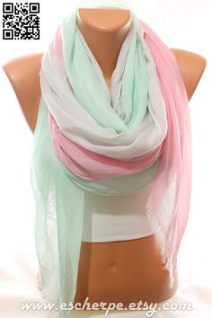 SALE Pastel Mint Pink Grey So Soft Cotton Spring Summer Scarf Beach Wrap Cowl Pareo Women's Fashion Accessories Holidays Gift Idea For Her