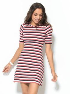 Vestido manga corta mujer rayas tricolores en canalé