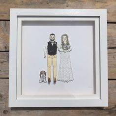 A portrait of a wedding couple & their dog 😊which is heading to Dublin Etsy.com/shop/chunkydumpling #bespoke #portraits #familyportrait #weddinganniversary #paperanniversary #paperdolls #birthdays #handmade #custommade #supportsmallbusiness #supportlocal Pen And Watercolor, Watercolor Pencils, Deep Box Frames, Sharpie Pens, Paper Anniversary, Portrait Illustration, Dublin, Paper Dolls, My Drawings