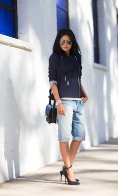 b Black Cross Dye Canvas Moto Jacket by Walk In Wanderland Fashion Moda, Fashion 101, Denim Fashion, Fashion Outfits, Womens Fashion, Bermuda Shorts Outfit, Bermuda Jeans, Denim Shorts, Spring Summer Fashion