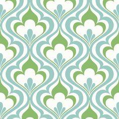Lola Blue Ogee Bargello | Wallpaper Warehouse