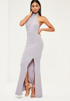 Grey Choker Maxi Dress - Missguided