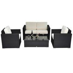 ConvenienceBoutique.com Outsunny 4 pc Outdoor Rattan Wicker Sofa Sectional Patio Furniture Set - Outdoor Living - Patio Furniture - Benches, Sofas & Loveseats
