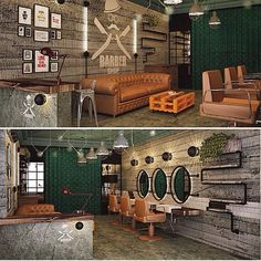 Here are some of the most trending and unique barber saloon interior decor designs. Barber Shop Interior, Barber Shop Decor, Hair Salon Interior, Salon Interior Design, Salon Design, Boutique Interior, Interior Ideas, Barber Shop Vintage, Andrea Barber