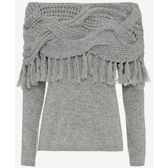 Exclusive for Intermix for Intermix Off The Shoulder Mixed Cable Knit... (€320) ❤ liked on Polyvore featuring tops, shirts, sweaters, green top, fringe top, long sleeve tops, shirts & tops and fringe shirt