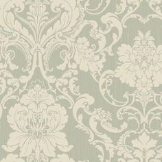 Formal Lacey Damask Wallpaper in Silver design by York Wallcoverings