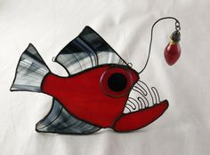 Morgana Anglerfish Stained Glass by trilobiteglassworks on Etsy