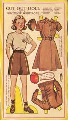 Girl Scouts Brownie uniform in a cut out paper doll. (That's the Girl Scouts' trefoil emblem not Girl Guides.