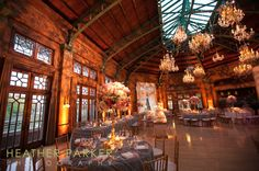 Such a grand setting with the decorations and chandeliers.