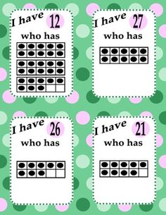 Cool Math Game - I have, Who Has? Ten Frame Game