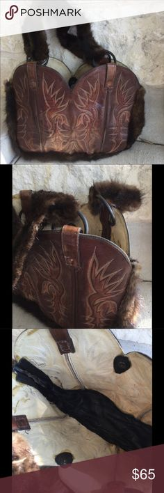 """WESTERN BOOT PURSE You that right, this is a Purse, handmade from a pair of western boot uppers. Rich brown leather with all the traditional topstitching you would expect to see on a pair of Western Boots. Gusset is a soft rich brown fur. Matching fur is repeated on the handles. Open interior with no pockets or closures.  Do Not Miss Your Chance To """"Wow"""" Your Friends!! This is a one of a kind bag. Western Boot Bag Bags Shoulder Bags"""