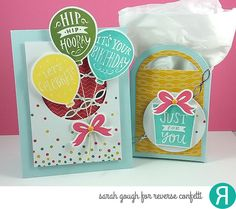 Birthday ensemble by Sarah Gough. Reverse Confetti stamp set: Boxes 'n Balloons. Confetti Cuts: Boxes 'n Balloons, Tagged Tote, and Linked Garland. Birthday card. DIY gift bag. Celebration card. Graduation card. Congratulations card.