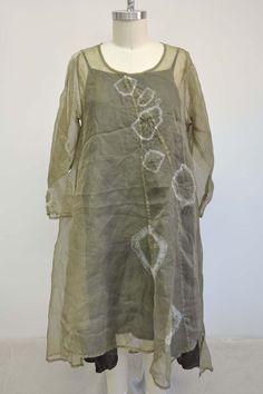Billowy Dress in 100% Silk Organza, Moss Bubble Tie Dye