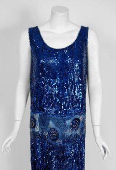 1920's French Sapphire-Blue Sequin Beaded Floral Motif Art-Deco Flapper Dress  | From a collection of rare vintage evening dresses and gowns at https://www.1stdibs.com/fashion/clothing/evening-dresses/