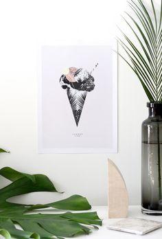 SUMMERTIME - tropical ice cream summer poster