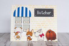 MFT you make my tail wag, MFT lucky dog, MFT boutique window, MFT english brick wall stencil.