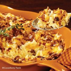 Gooseberry Patch Recipes: So good Country Potato Bake - topped with bacon, cheese and french fried onions!
