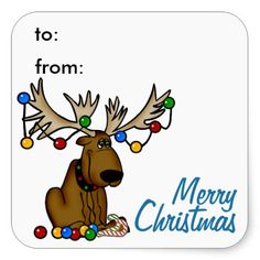 Christmas Moose Gift Tag Sticker