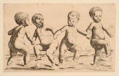 Portrait - Illustration - Engraving - Dancing Babies - 17th Century