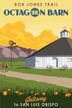 Octagon Barn Limited Edition Canvas Print - Steve Thomas  - Vintage Style. LOVE!