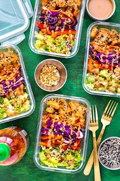 These Peanut Chicken Meal Prep Bowls come together withsautéedchicken, a rainbow of veggies and a delicious peanut sauce for a healthy make ahead, low carb lunch idea!