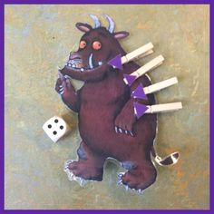 Add the purple prickles to his back on pegs Gruffalo Eyfs, Gruffalo Activities, Gruffalo Party, The Gruffalo, Motor Activities, Creative Activities, Preschool Printables, Preschool Activities, College Activities