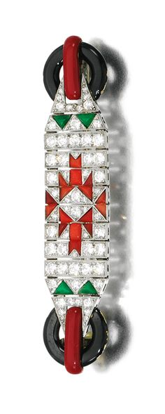 CORAL, JADE, ENAMEL AND DIAMOND BROOCH, 1920S. The rectangular plaque decorated with circular- and single-cut diamonds, enhanced with buff-top coral and jade accents, set between a pair of black and red enamel baton and annular terminals, signed Boucheron, Paris to brooch pin, French assay and maker's marks.