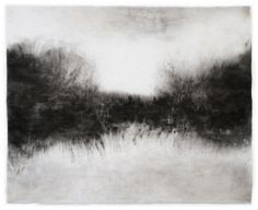 """Untitled (Image 3958), 25""""h x 30-1/2""""w, water & Sumi ink on handmade kozo paper, 2010/ by   Sky Pape"""
