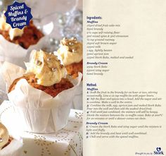 Spiced Muffins and Brandy Cream Stork Recipes, Fruit Cake Mix, Baking Recipes, Cake Recipes, South African Recipes, Yummy Food, Delicious Recipes, Homemade Cakes, Let Them Eat Cake