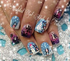 Adorable winter scene nails