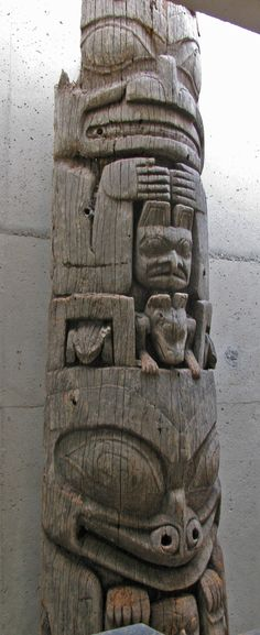 Pacific North West Naaxwa GyaaGang (Interior house post) Haida: Kunghit SGaang Gwaay Linagaay (Ninstints, Haida Gwaii, BC) Red cedar and metal, carved and hollowed, 1850 or earlier BC Totem Pole Preservation Committee purchase, 1957
