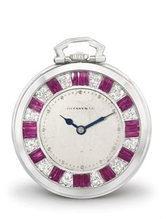 Tiffany. A fine and rare platinum, diamond and synthetic ruby-set keyless lever dress watch with box  Signed Tiffany & Co., New York, movement no. 74'061, circa 1920