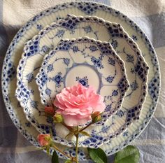Summer roses on Royal Copenhagen Blue fluted Half Lace, by LilyOake